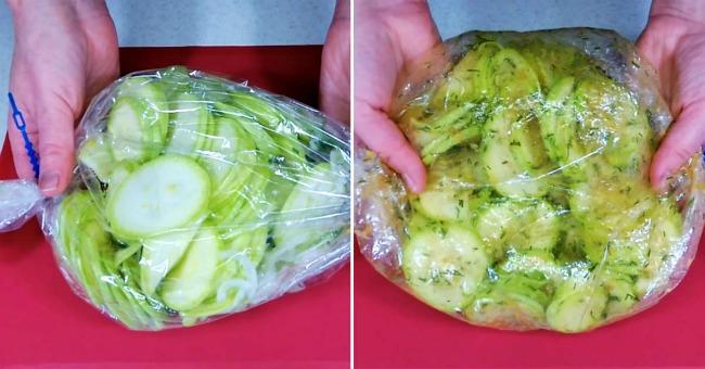 Хрусткі мариновані кабачки з пакету: почекати всього 20 хвилин і готово!